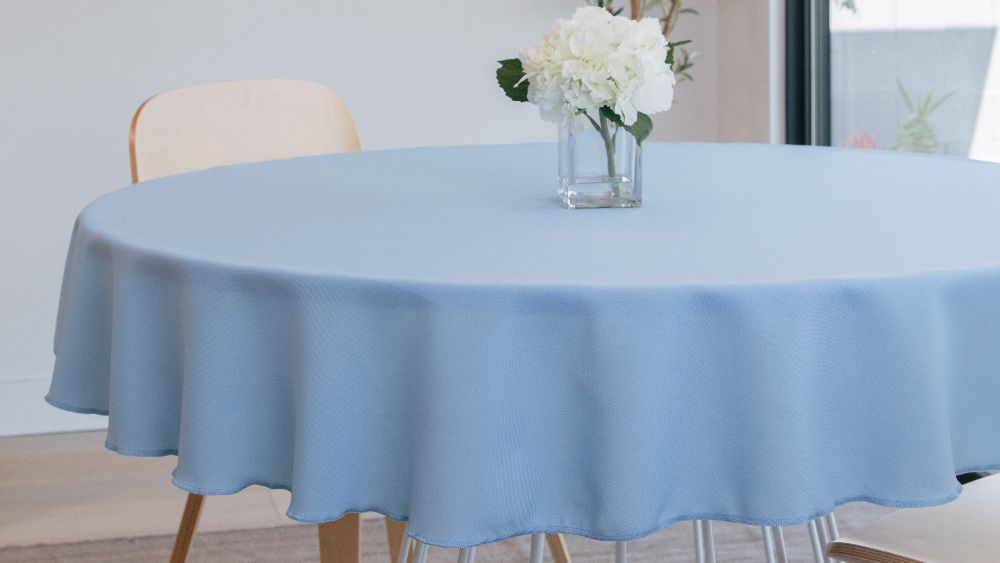 Polyester Poplin Round Tablecloth 108-Inch in Light Blue