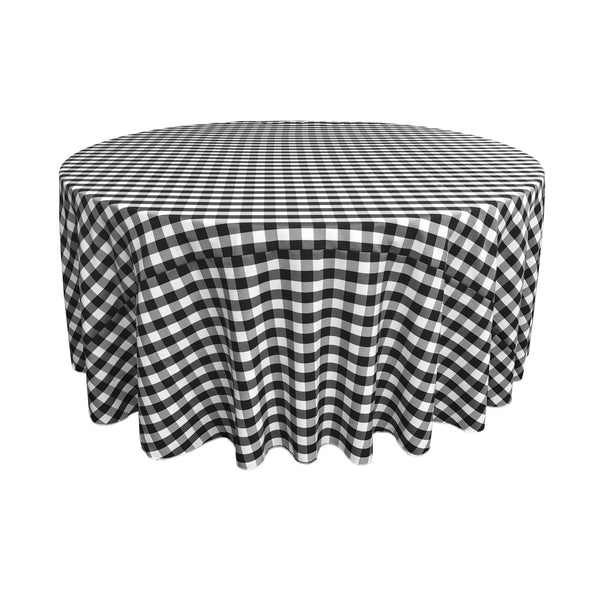 "Checkered Polyester 108"" Round - LA Linen"