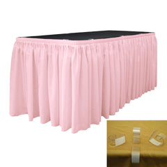 "Polyester Poplin 17' x 29"" Pleated Table Skirt with 10 Clips"