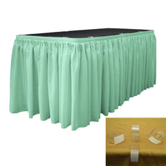 "Polyester Poplin 21' x 29"" Pleated Table Skirt with 10 Clips"