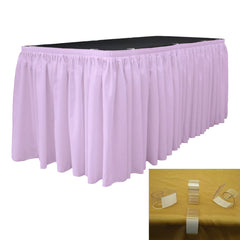 "Polyester Poplin 30' x 29"" Pleated Table Skirt with 15 Clips"