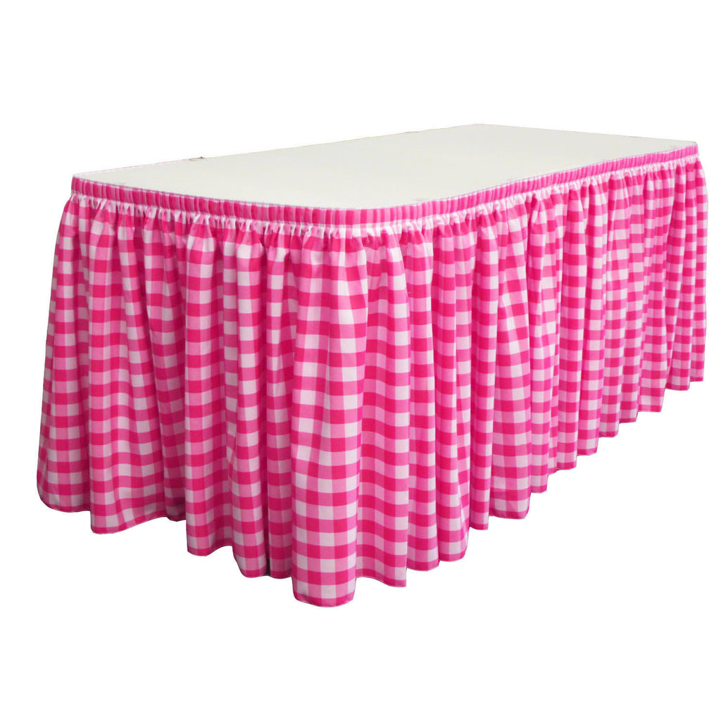 "Checkered Polyester 30' x 29"" Pleated Table Skirt with 15 clips"