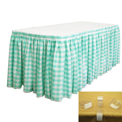 "Checkered Polyester 21' x 29"" Pleated Table Skirt with 10 clips"