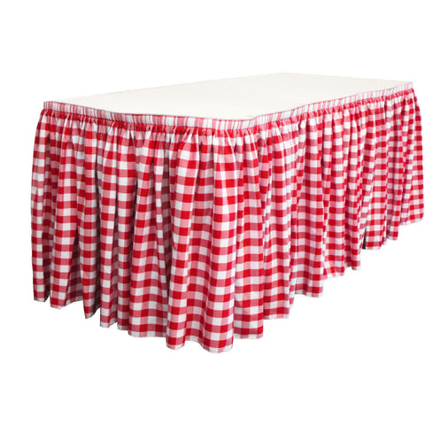 "Checkered Polyester 14' x 29"" Pleated Table Skirt with 10 clips"