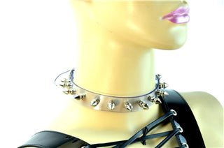 classic spike clear vinyl punk cyber collar