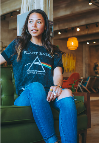 Amber Sosa wearing Vegetaryn Plant Based Pink Floyd graphic tee