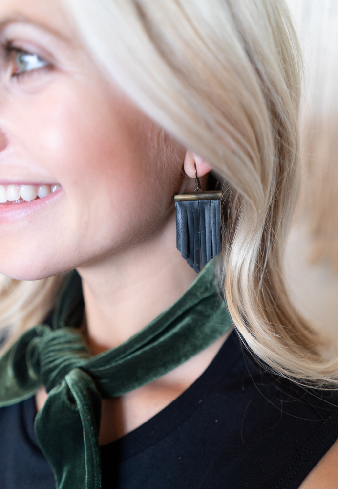 Load image into Gallery viewer, VEGAN LEATHER EARRINGS
