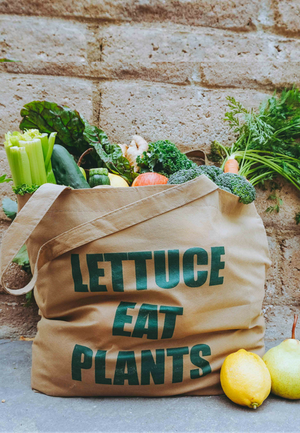 Load image into Gallery viewer, lettuce eat plants tote bag
