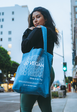 Load image into Gallery viewer, GO VEGAN - DENIM TOTE BAG