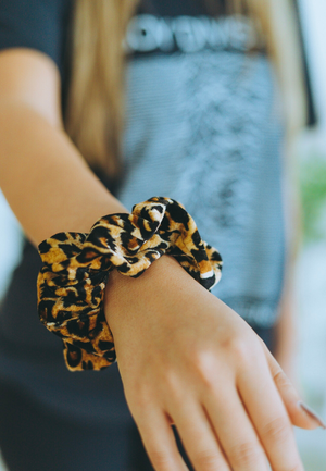 Large Leopard velvet SCRUNCHIE