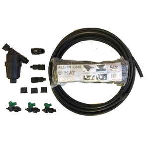 deluxe single-line black all-in-one mat kit combines drip irrigation & plastic mulch.