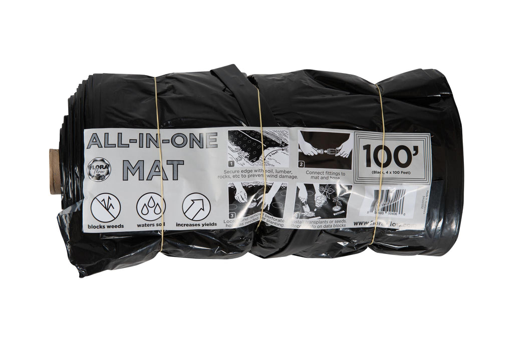 100-Foot Black Mat With Single-Drip Tape Line And Perforated Plant Holes