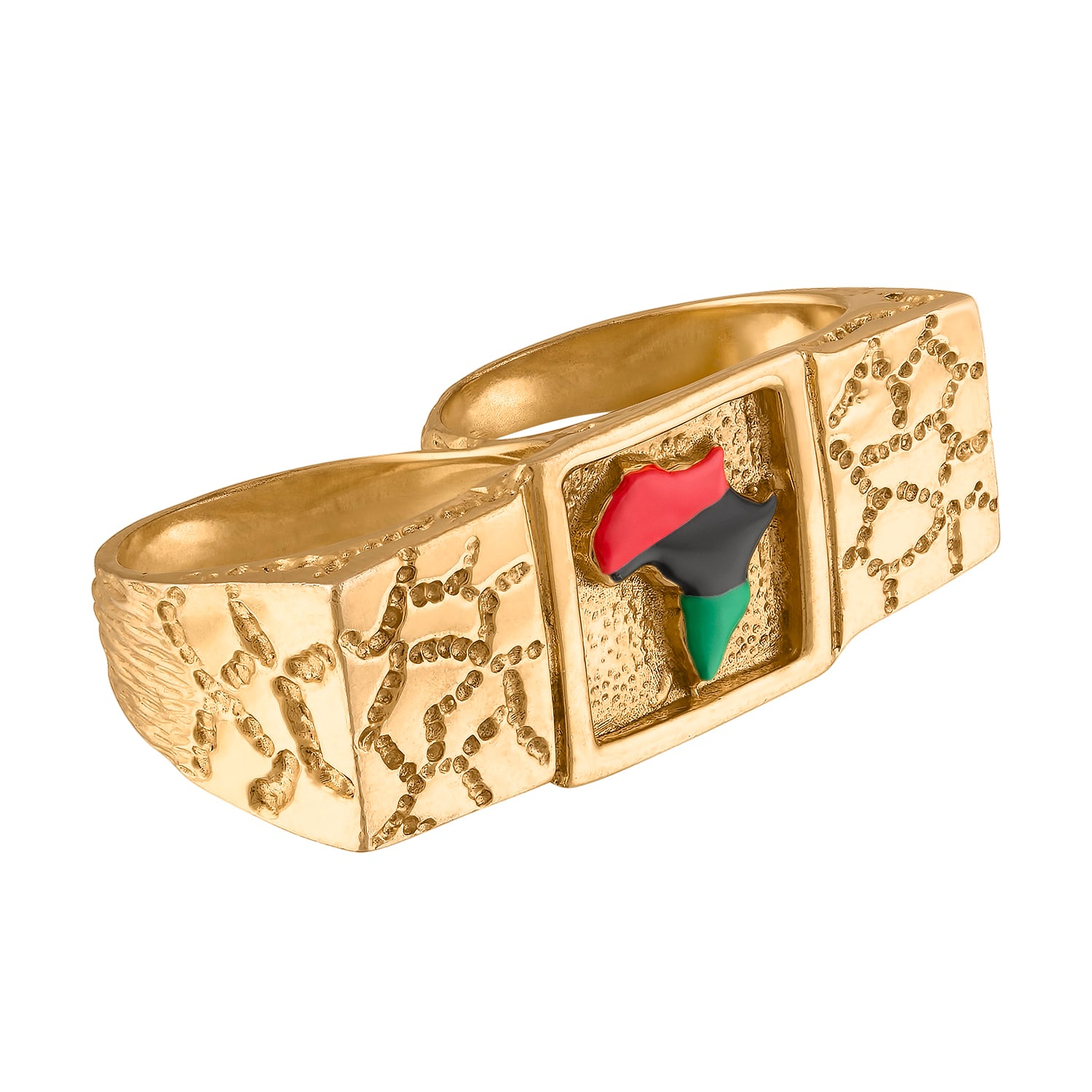 2 FINGER AFRICA NUGGET RING