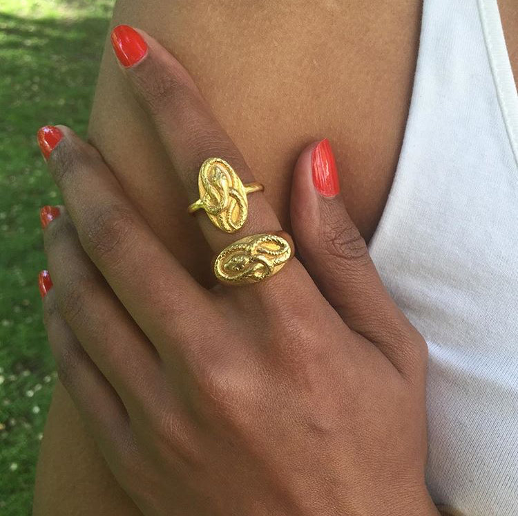Twisted Snake Cameo Ring