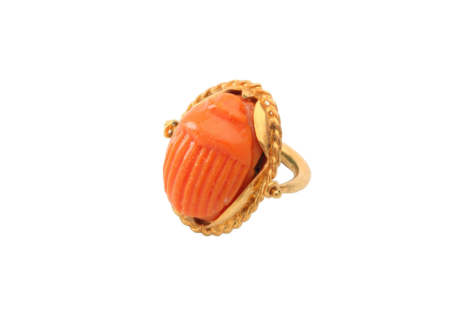 Large Scarab Swivel Ring with coral resin