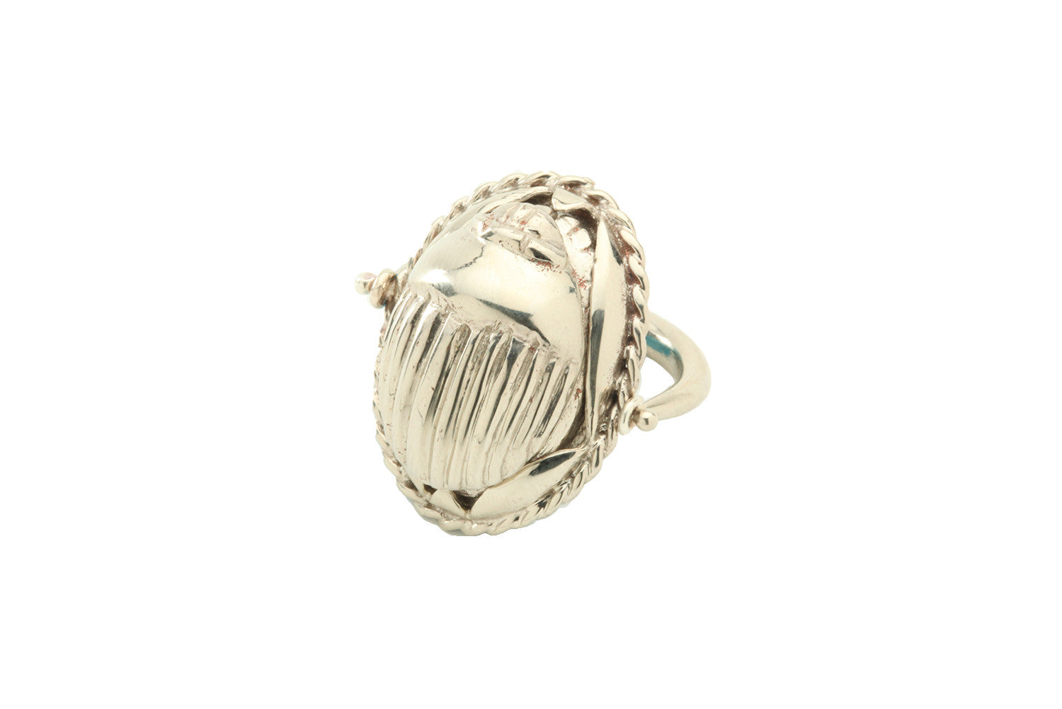 Large sterling silver swivel scarab ring, available also in 18K gold plated brass and gold.