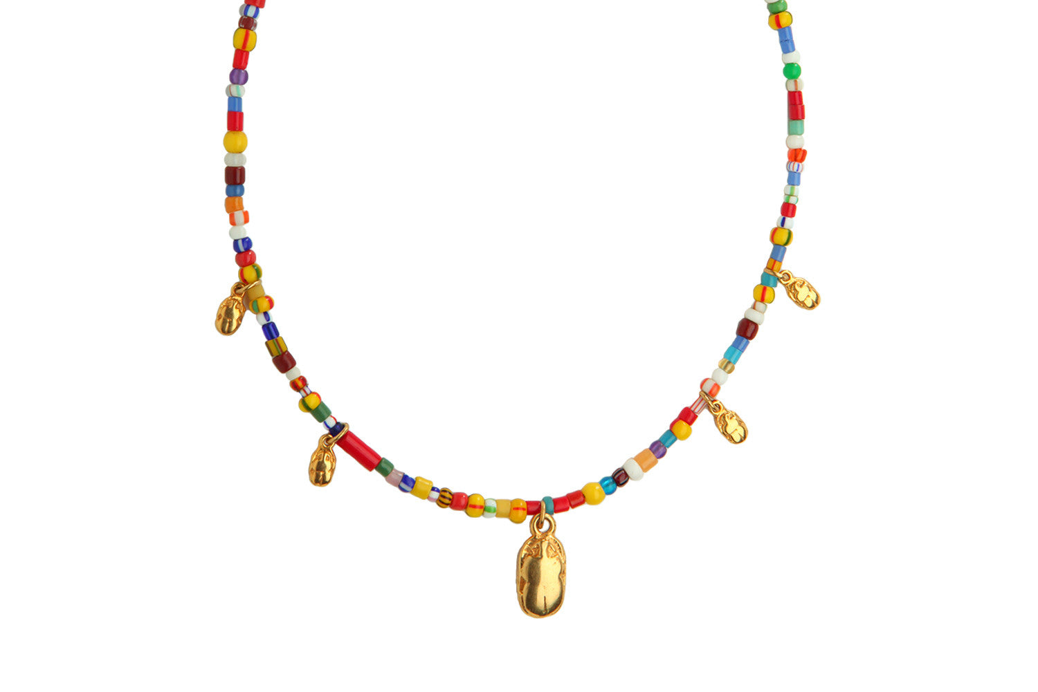 Solar Scarab Beaded Necklace