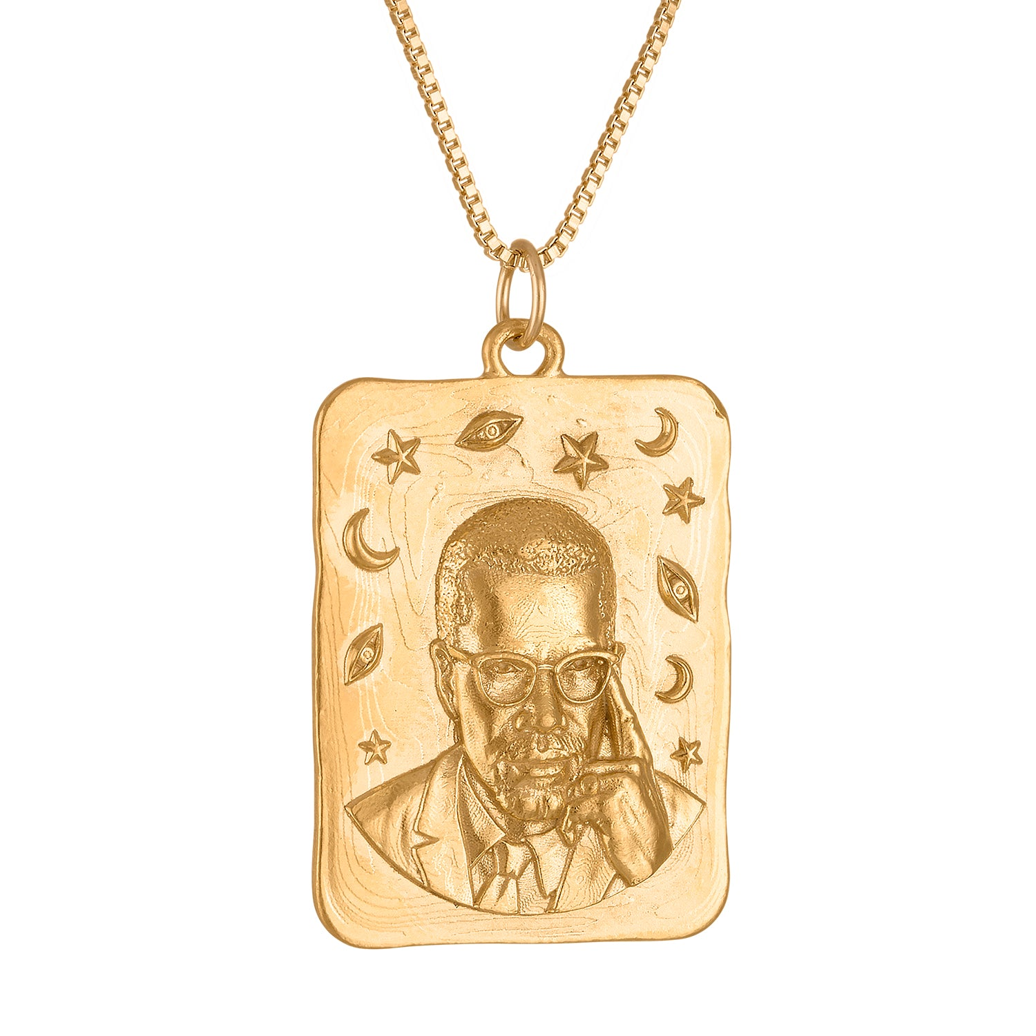 Malcolm X  Large Square Medallion Necklace