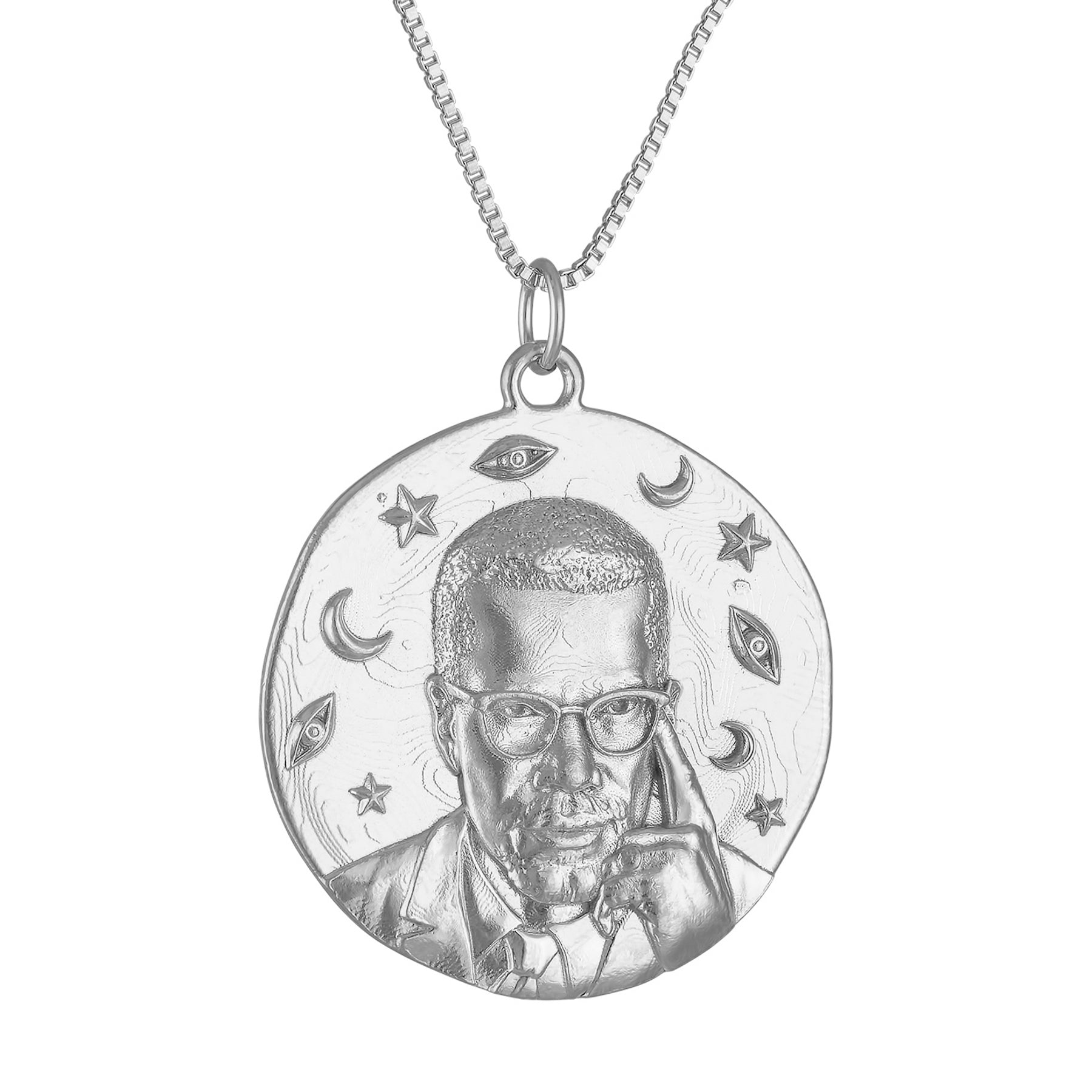 Malcolm X Large Round Medallion Necklace