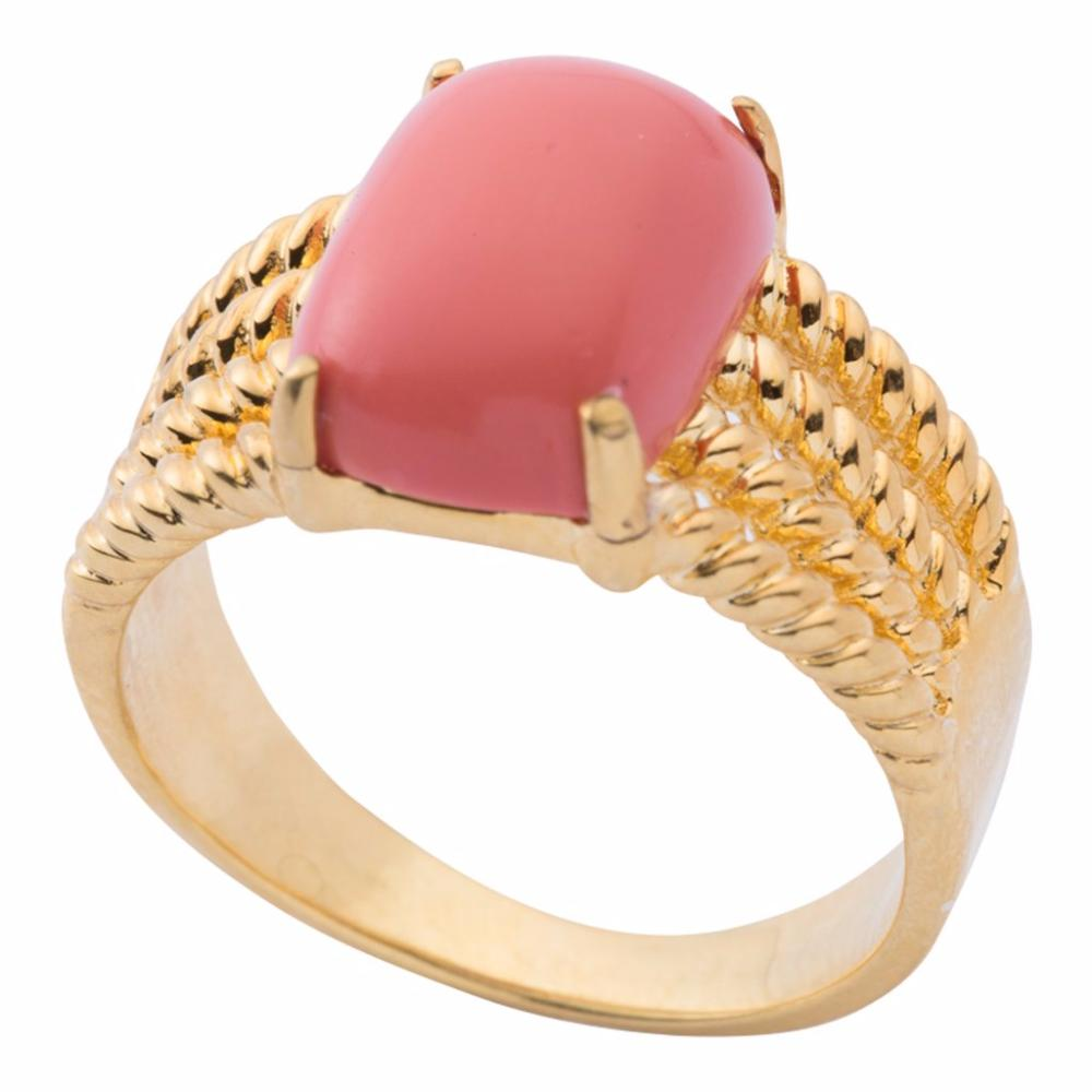 Rope twist coral cocktail ring is available in 18K gold plate, sterling silver and 14K gold.