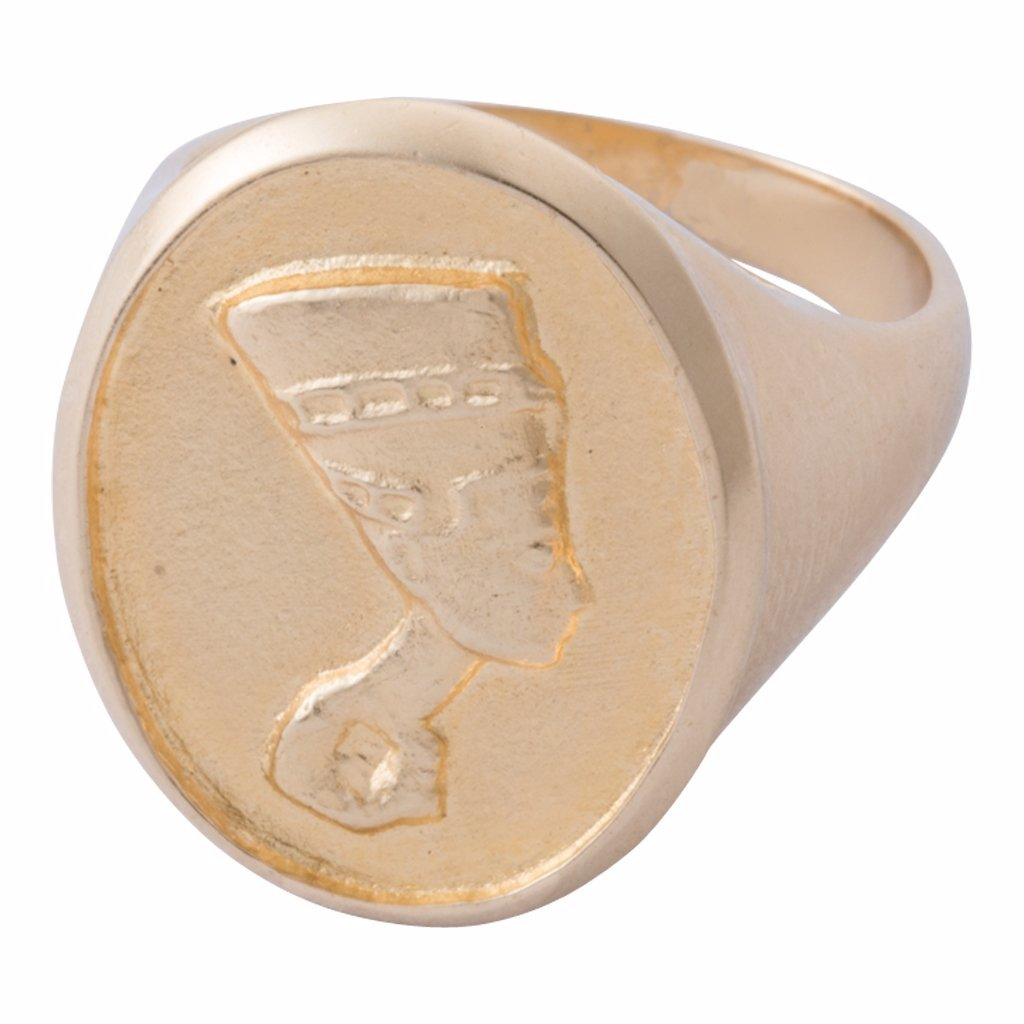 Unique Queen Nefertiti cameo signet ring, looks vintage or antique. Available in 18K gold plated brass, sterling silver and 14K gold.