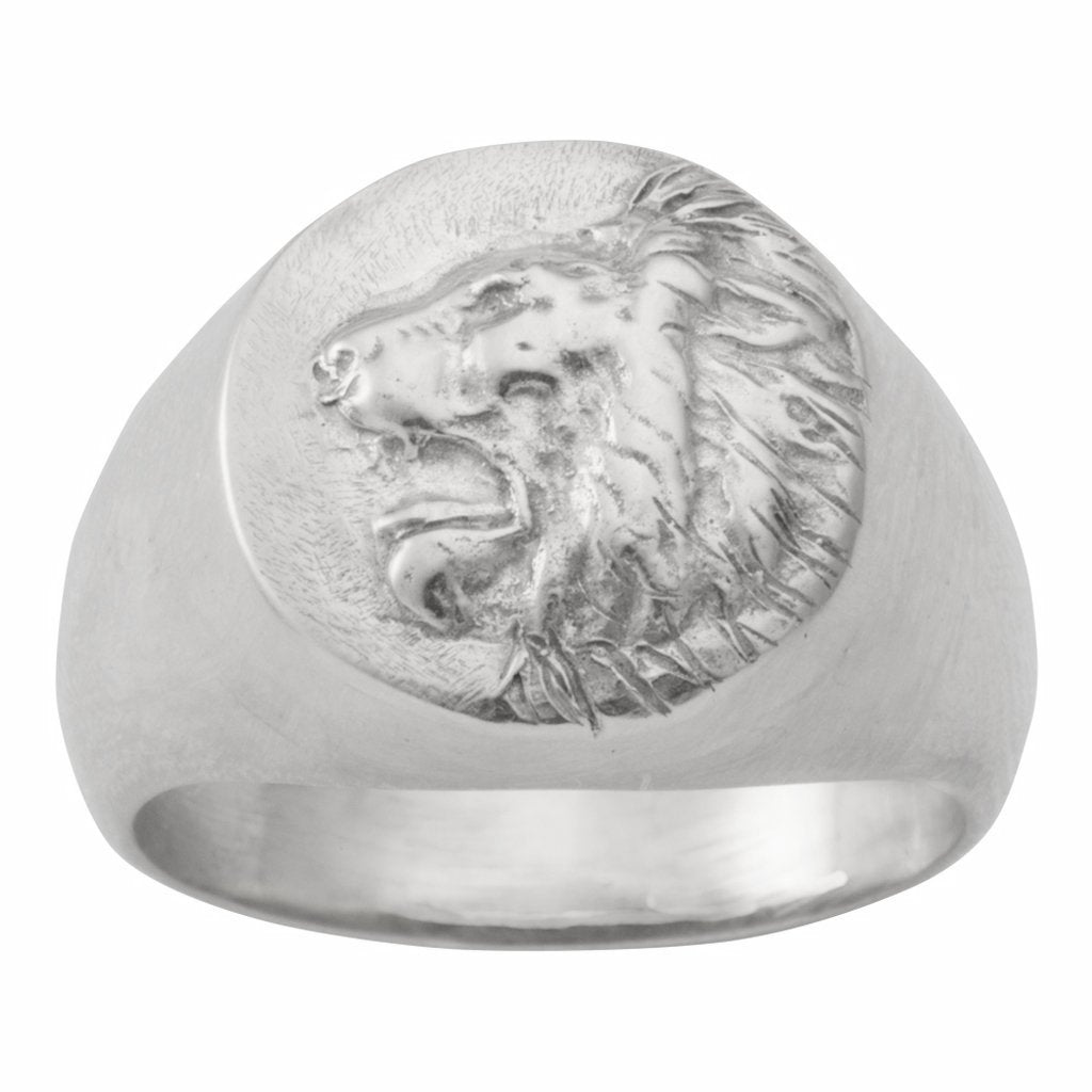 This roaring lion signet ring has vintage, antique qualities. It's available in 18K Gold plate, sterling silver and 14K gold. Sewit Sium Jewelry