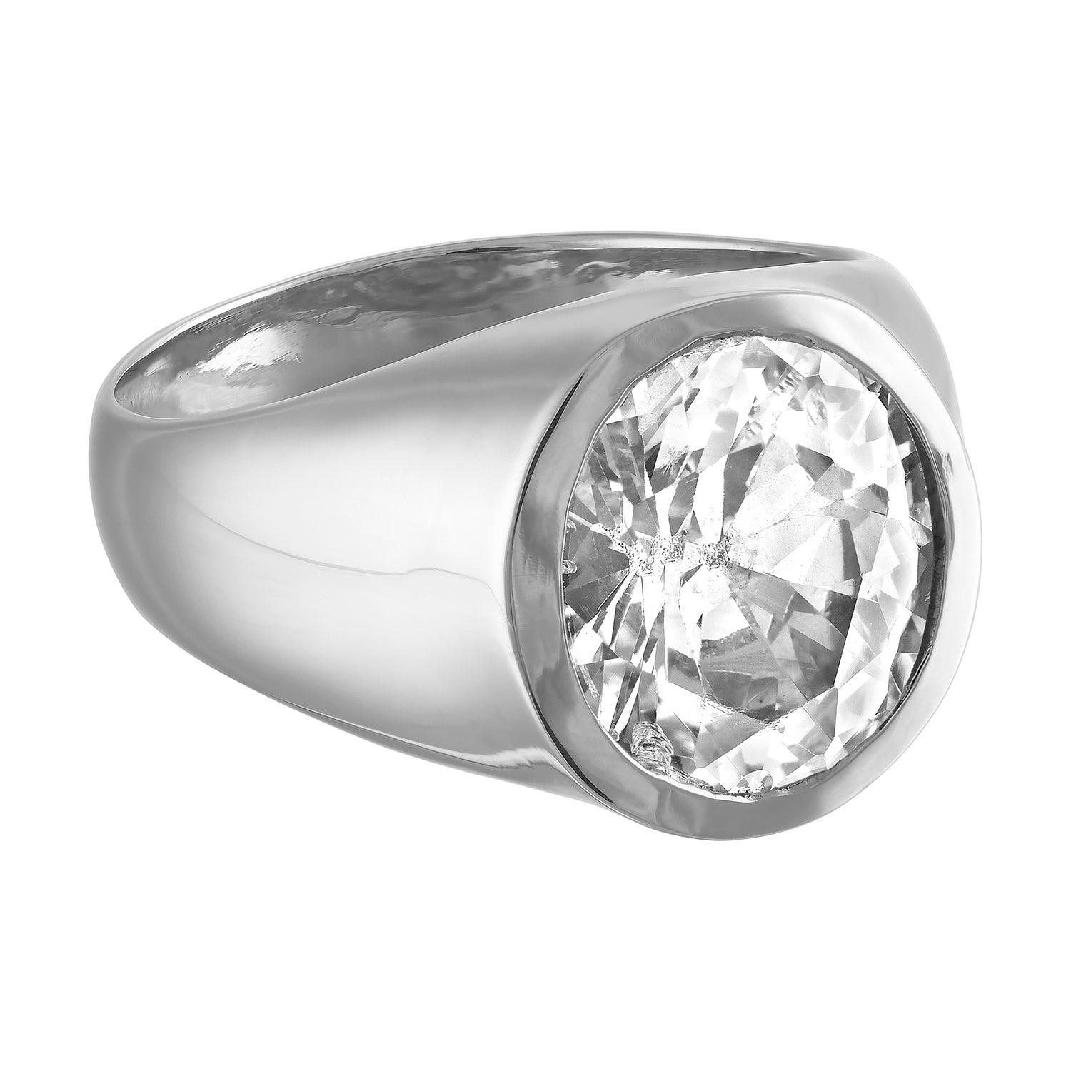 Multi-faceted Signet Ring w/ White Sapphire