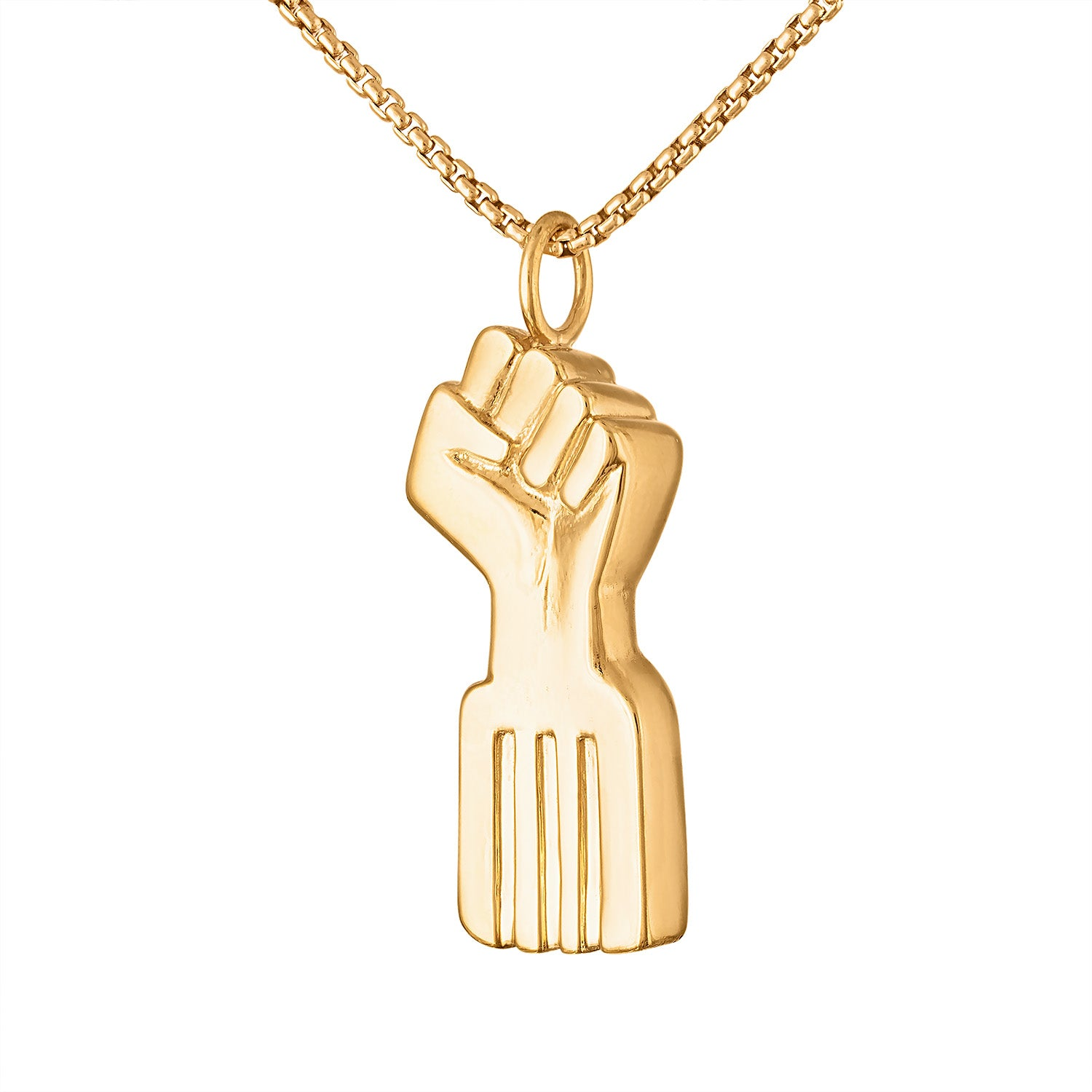 Radiant Gold Black Power Fist Necklace