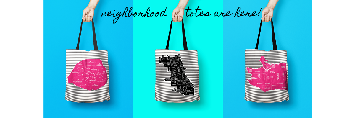 Designhype Neighborhood tote bags, Paris, Vancouver, Chicago and more