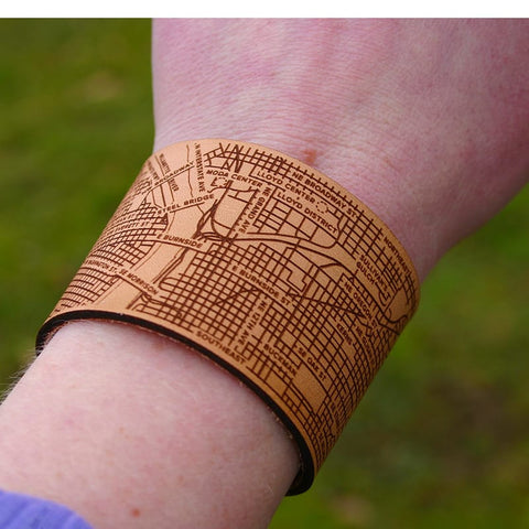 Designhype's handmade leather Portland City map cuff bracelet with bridges, landmarks and streets detailed.