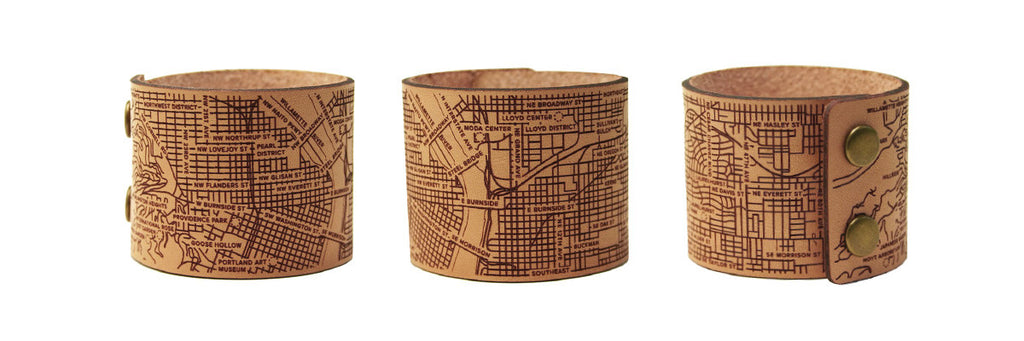 Portland leather City Map bracelets by Designhype