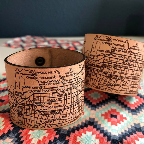 Los Angeles City Map Bracelet handmade leather