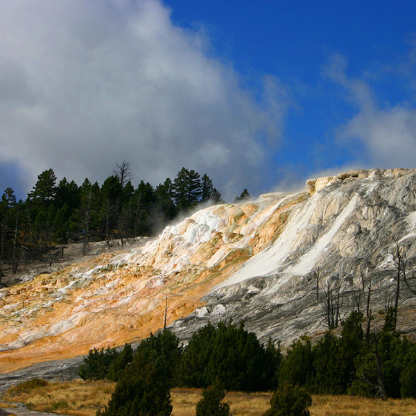 Geothermal rock formations as you enter Yellowstone National Park from Montana