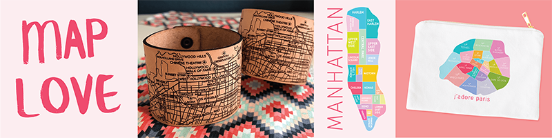Portland, Oregon City map bracelet, Manhattan cosmetic bag by Designhype