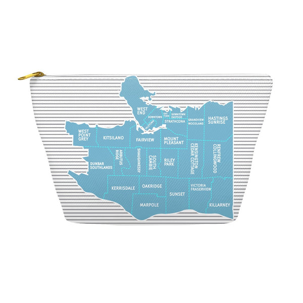 Vancouver BC Neighborhood Map - Carry-all Pouch - Blue/Grey
