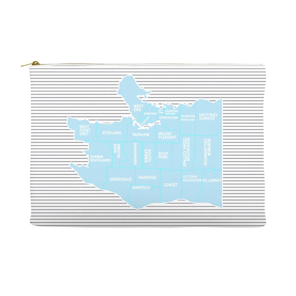 Vancouver, BC Neighborhood Map - Carry-all Pouches - Light Blue/Grey