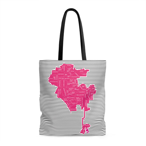 Los Angeles Neighborhood Map Tote Bag