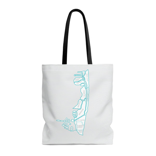 Miami Beach Neighborhood Map Tote Bag - Blue/Grey