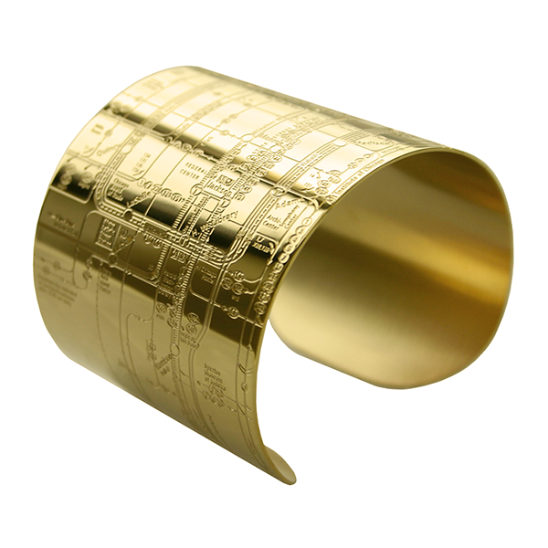 Designhype's Chicago Metro Cuff Map Bracelets in 18K gold plate