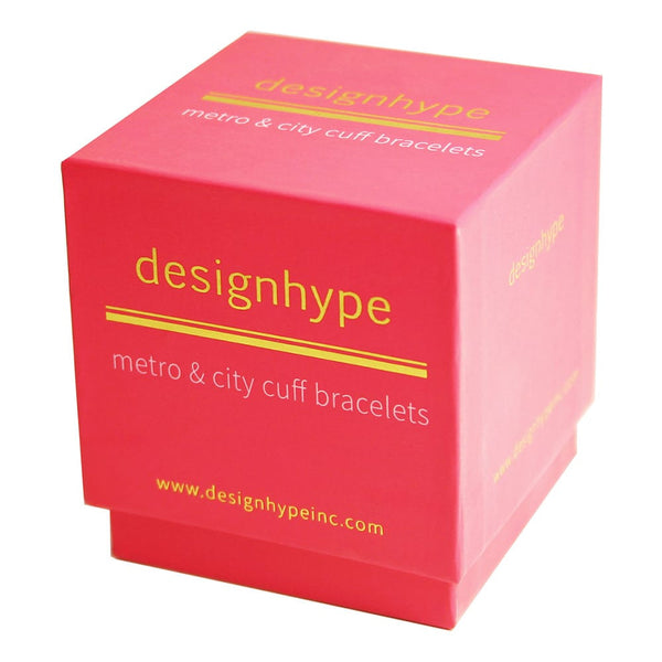 Designhype's branded, gold embossed gift boxes make giving our 18k gold cuff city, subway and street map bracelets quick and easy. Our boxes are recyclable, super thick making them sturdy and are beautifully designed.