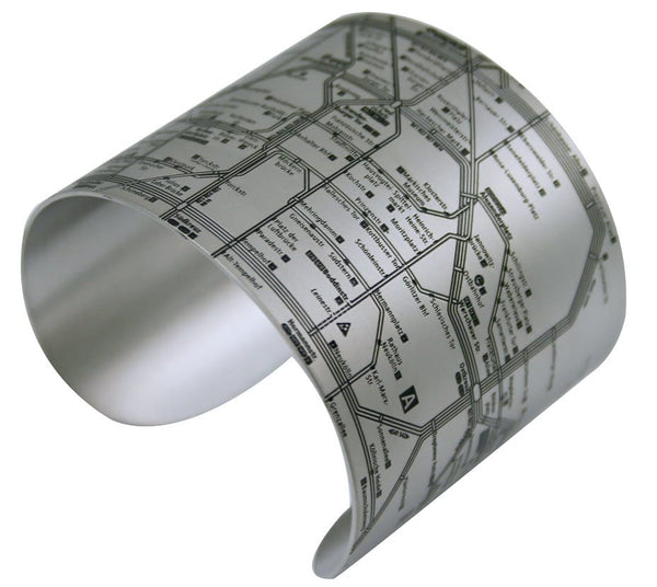 Designhype's Berlin Metro Map Cuff Bracelets in matte black stainless steel. Made for women who love to travel, the perfect gift.