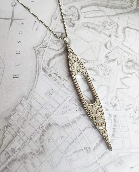 Designhype's stainless steel, art deco inspired, Chrysler Building Necklace for women who have NYC wanderlust