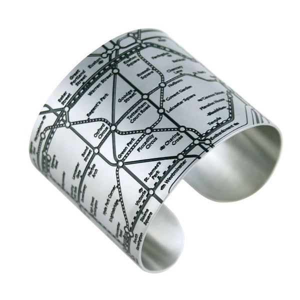 Designhype's London Tube Cuff subway map bracelet with matte black embossed lines detailing the London Underground. A unique, funky bracelet made for wanderlust travelers.