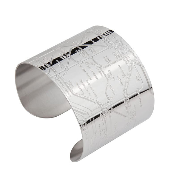 Designhype's London Tube Cuff subway map bracelet with shiny embossed lines detailing the London Underground. A unique, funky bracelet made for wanderlust travelers.