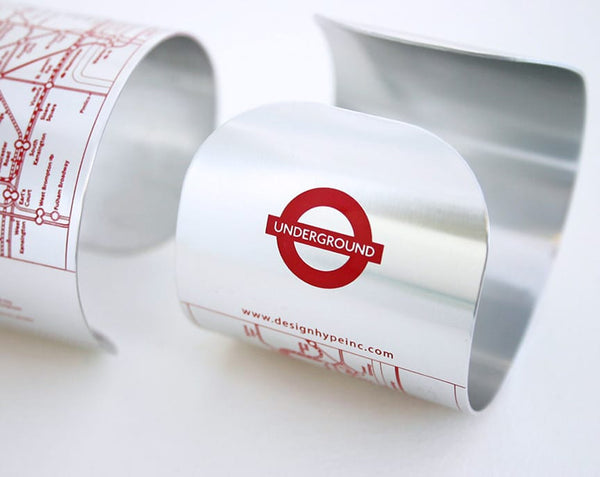 Designhype's London Tube Cuff subway map bracelet with matte black embossed lines detailing the London Underground. Navigate in style, ditch the foldout map and wear a fun, fashionable piece of jewelry.