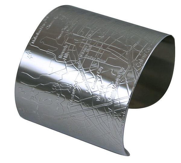 Designhype's Los Angeles City map cuff bracelets with shiny embossed neighborhood, streets, landmarks are the perfect wanderlust, travel-inspired gift for women who love LA.