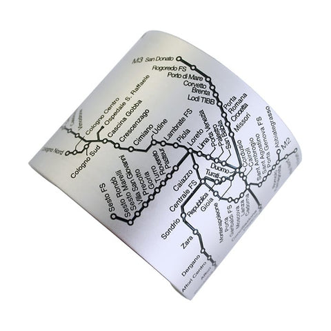 Designhype's Milan Metro Cuff map bracelet in matte black embossed details on stainless steel. Perfects gifts for women who love Milan!