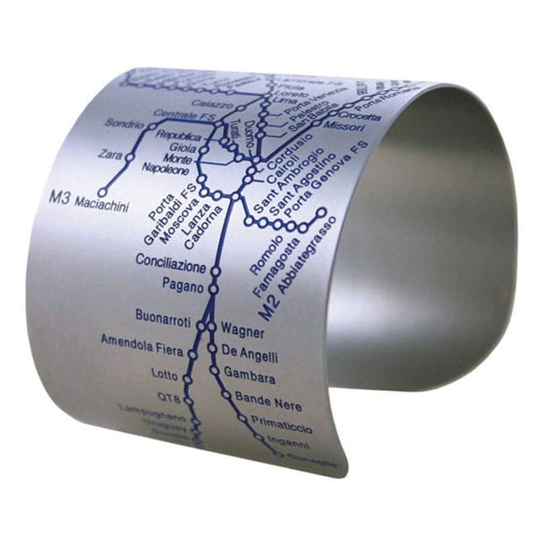 Designhype's Milan Metro Cuff map bracelet in matte blue embossed details on stainless steel. Perfects gifts for women who love Milan!