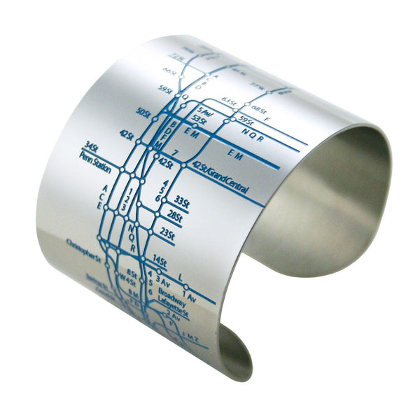 Designhype's NYC Metro Cuff Subway Map bracelet with cyan embossed lines of the MTA subway. The perfect gift for women who love the Big Apple