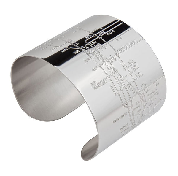 Designhype's design inspired NYC Metro Cuff Subway Map bracelet with embossed lines of the MTA subway. The perfect gift for women who love the Big Apple